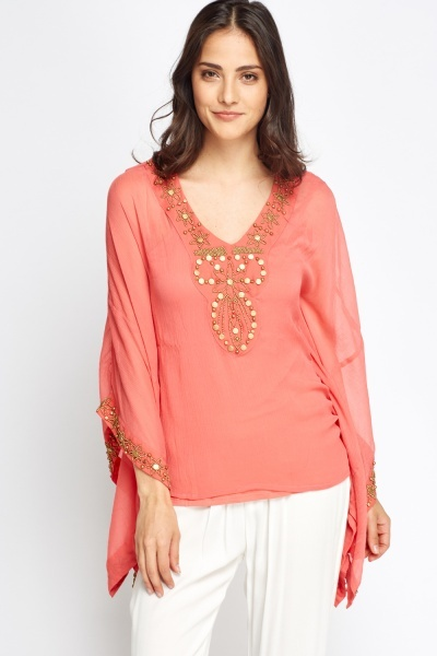 Image of Embroidered Trim Top