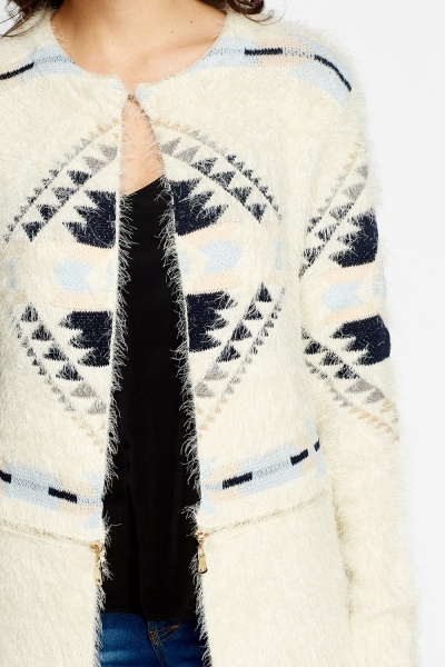 Eyelash Knit Geo Long Cardigan