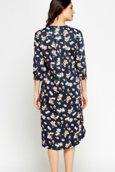Navy Floral T-Shirt Dress