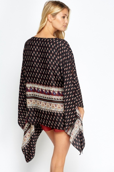 Black Printed Poncho Top