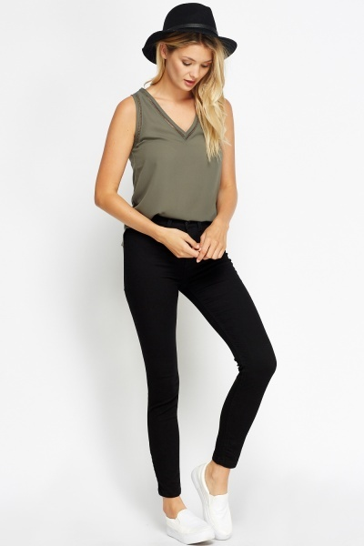 High Waisted Slim Leg Black Jeans