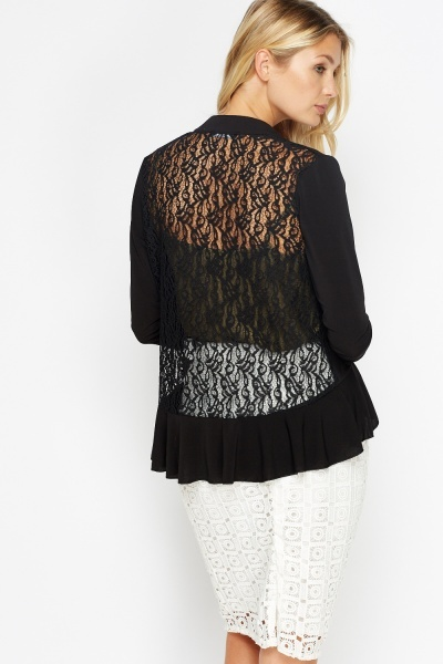 Lace Back Frilled Front Cardigan