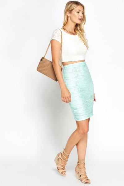 Mint Textured Skirt