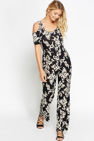 Ornate Cold Shoulder Jumpsuit