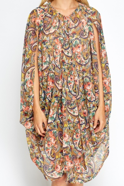Paisley Beige Long Cover Up