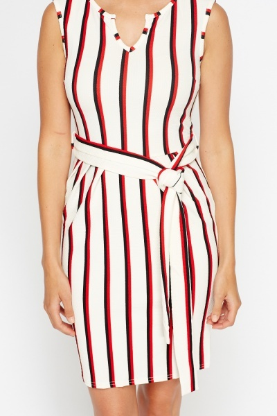 Pleated Waist Stripe Dress