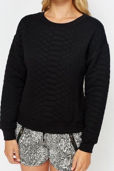 Quilted Casual Sweatshirt