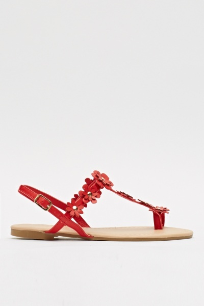 Flowered T-Bar Flip Flop Sandals
