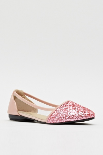 Transparent Paneled Glitter Pointed Ballerinas