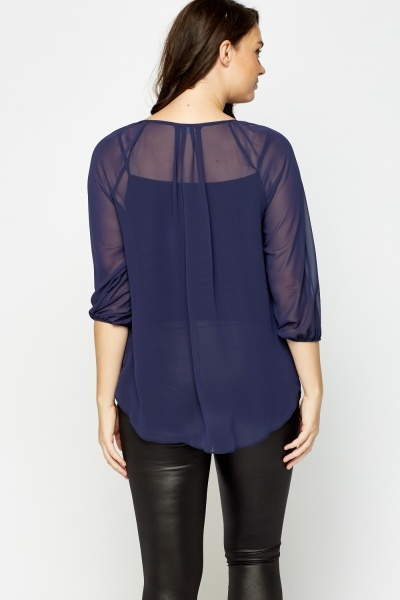3/4 Sleeve Sheer Blouse
