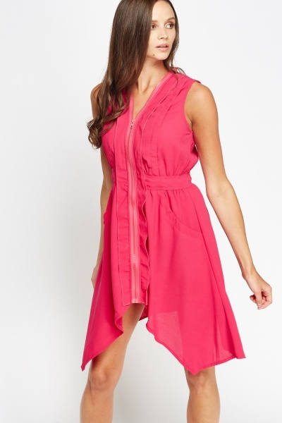 Asymmetric Zip Front Dress