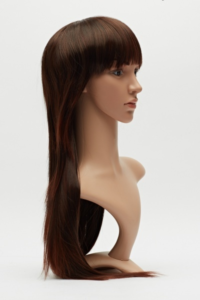 Chocolate Brown Fringed Long Wig