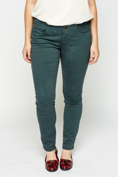 Forest Green Straight Leg Jeans