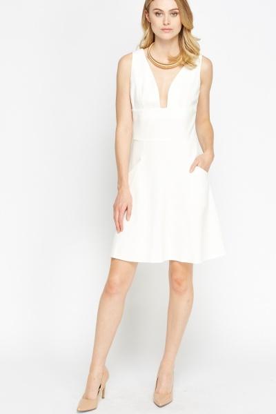 Image of Plunge Cream Swing Dress