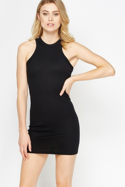 Image of Ribbed High Neck Mini Bodycon Dress