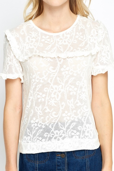 Ruched Embellished Mesh Top