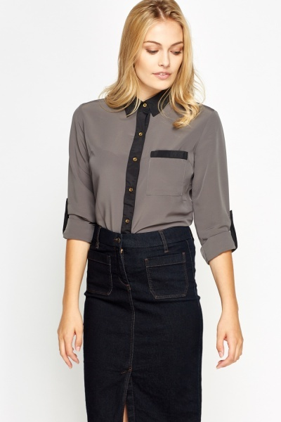 Contrast Trim Dark Grey Shirt