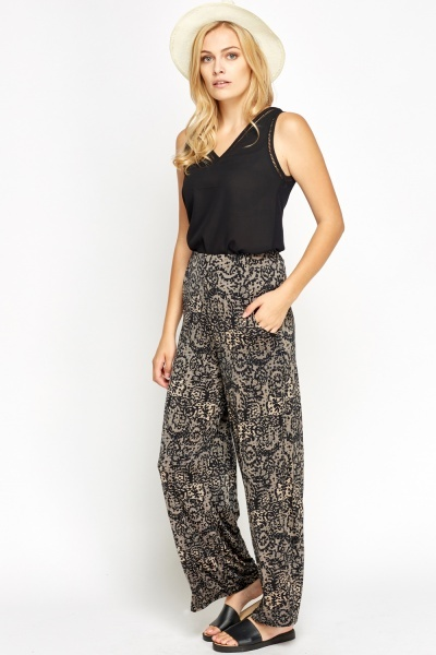 Lace Printed Wide Leg Trousers