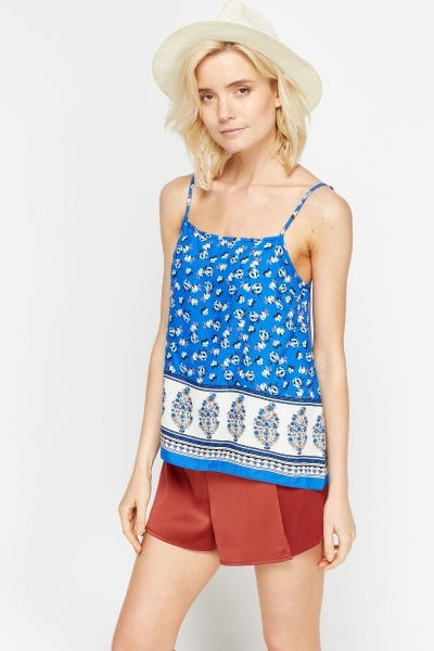 Contrast Printed Panel Cami Top