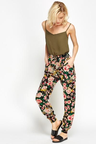 Floral Printed Elasticated Trousers