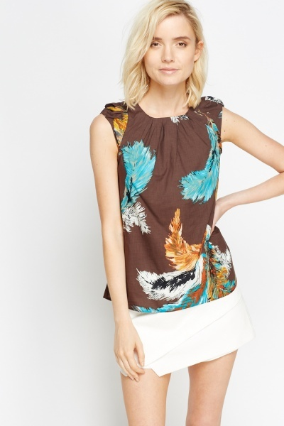 Pleated Brown Cup Sleeve Top