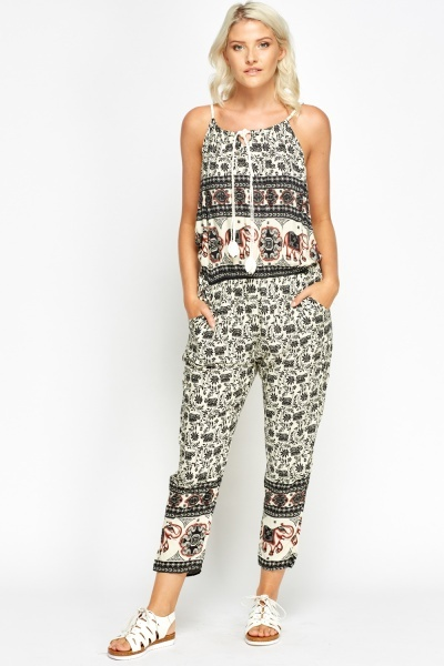 Mixed Print Casual Jumpsuit