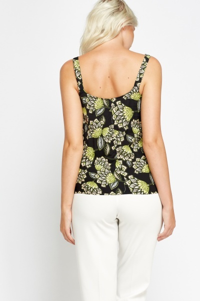 Wrap Front Black Floral Top
