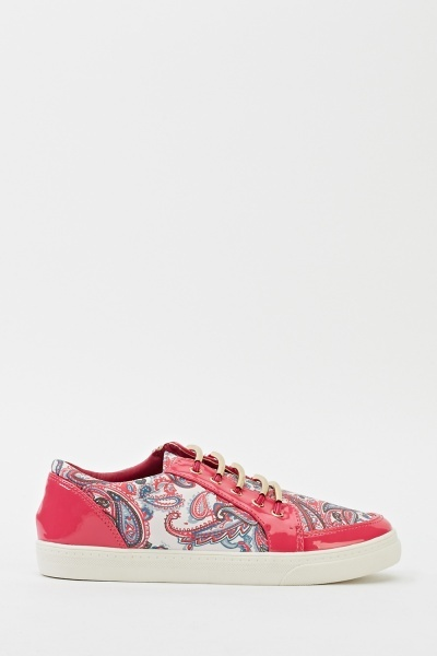 Paisley Print Detailed Trainers