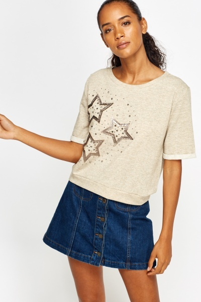 Embellished Star Printed Sweatshirt