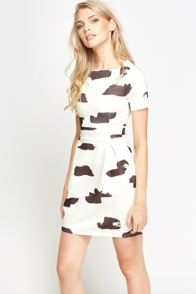 Patch Printed Skater Dress