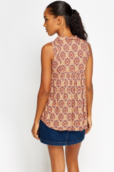 Tie Neck Printed Shell Top