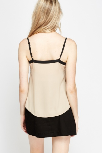 Helmut Lang Lace-trimmed satin cami top ($) liked on Polyvore featuring tops, evening tops, cami top, beige tank top, camisole tops and camisole tank top .