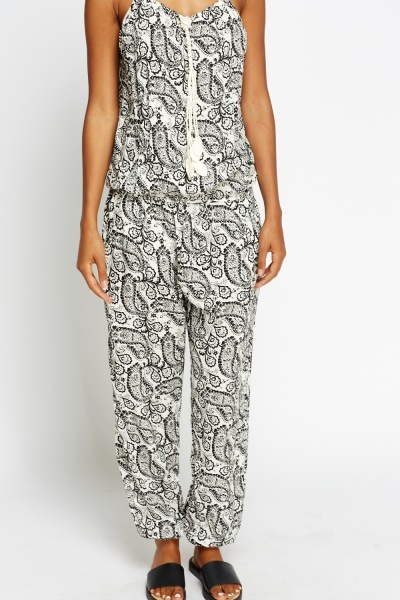 Mono Paisley Tie Up Jumpsuit