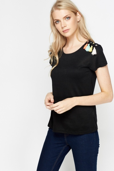 Tassel Detail Shoulder Top