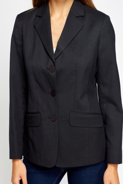 Button Front Long Blazer