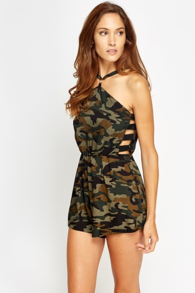 Camouflage Cut Out Side Playsuit