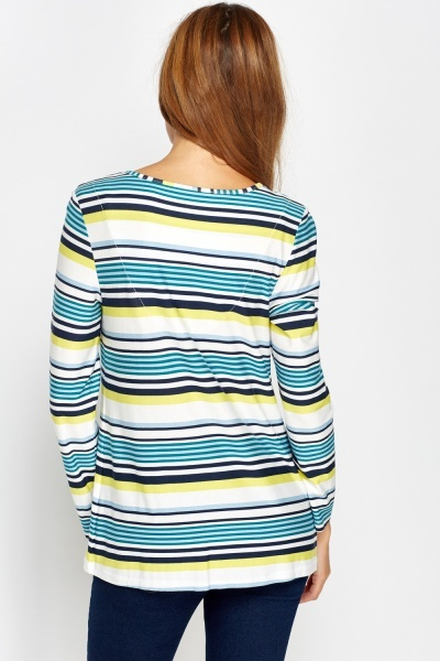Metallic Keyhole Stripe Top