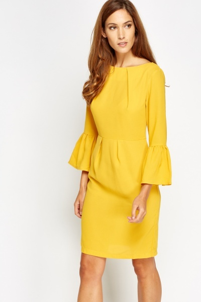 Pleated Sleeves Dress