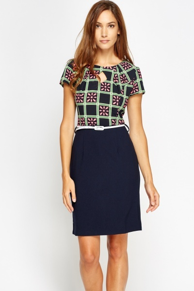 Printed Bodice Belted Dress
