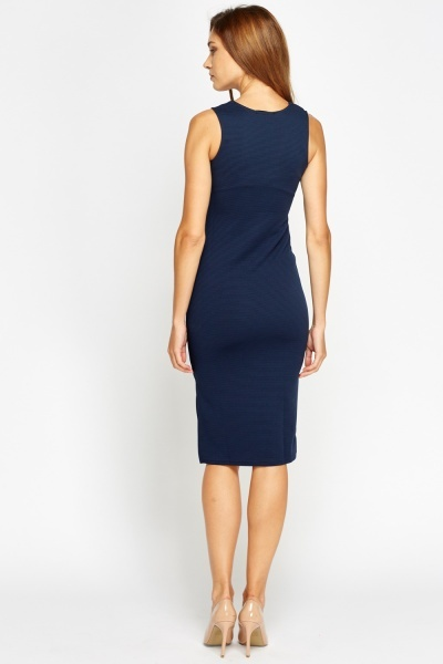 V-Neck Ribbed Bodycon Dress