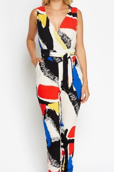 Fitted Mixed Print Wrapped Jumpsuit