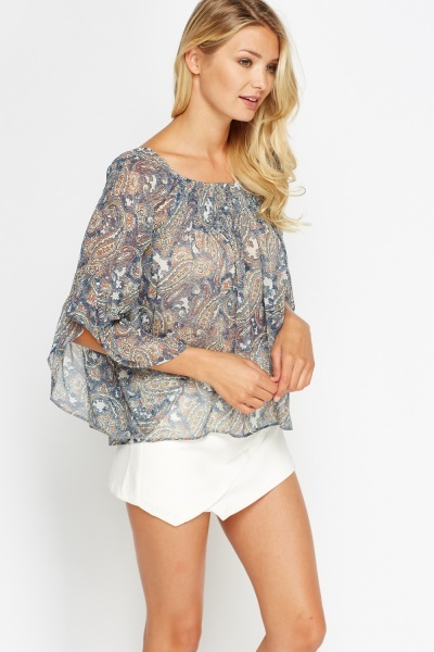 Flared Paisley Print Top