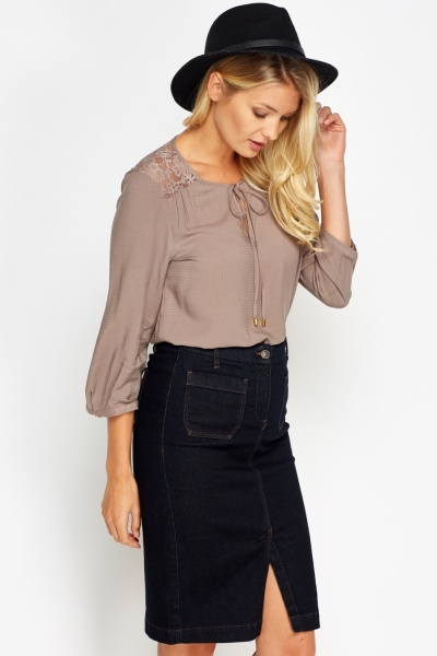 Lace Shoulder Taupe Blouse