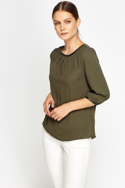 Contrast Trim Olive Blouse Top