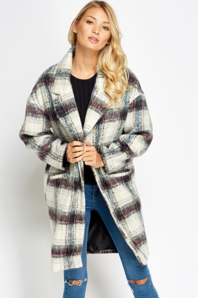 Cream Tartan Boyfriend Coat