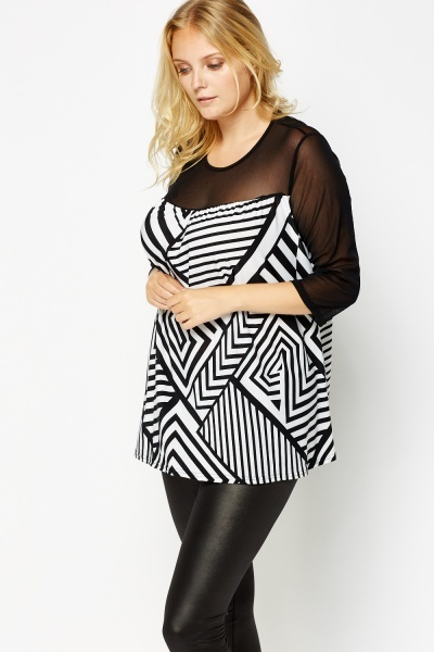 Geo Printed Sheer Sleeve Top