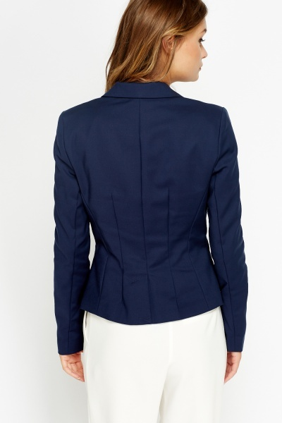 Button Front Cropped Blazer