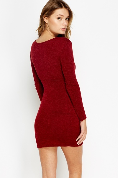 Knitted Knot Front Mini Dress