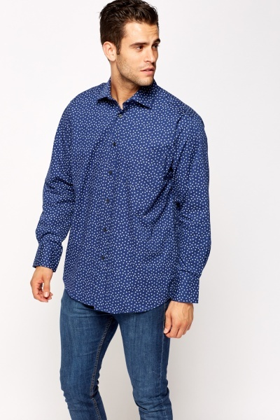 Navy Dotted Cotton Shirt