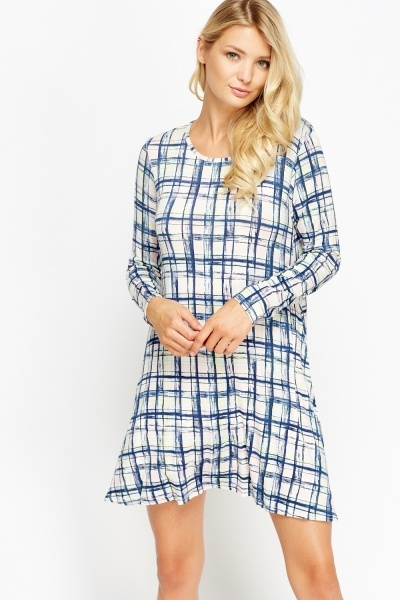 Pink Multi Checked Tent Dress